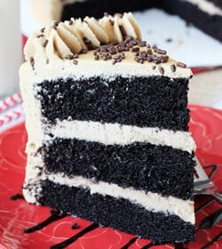 Caramel Mocha Chocolate Cake slice on red plate