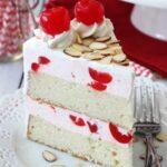 Cherry Almond Amaretto Ice Cream Cake slice on white plate