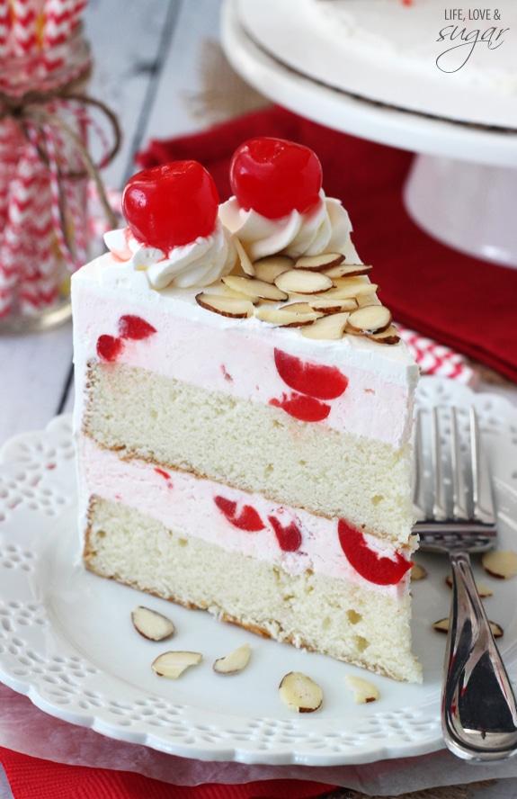 Image of a Slice of Cherry Almond Amaretto Ice Cream Cake