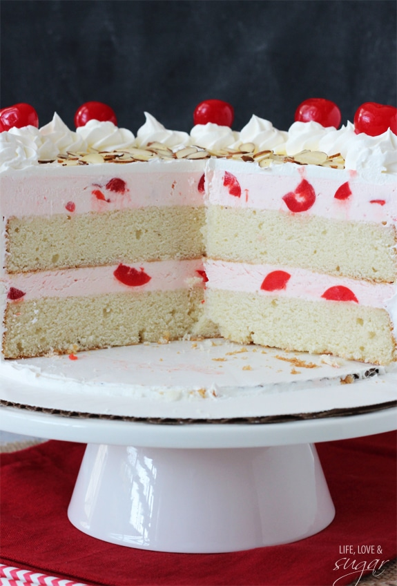 Image of a Cherry Almond Amaretto Ice Cream Cake on a Cake Stand