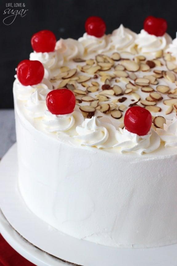 Image of a Cherry Almond Amaretto Ice Cream Cake