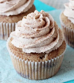 Cinnamon Sugar Swirl Cupcakes close up