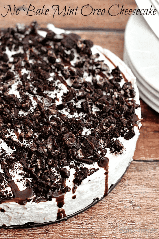 No-Bake-Mint-Oreo-Cheesecake-Oreo-crust-piled-with-light-and-fluffy-cheesecake-flavored-with-mint-and-topped-with-crushed-Oreos-and-chocolate-syrup-