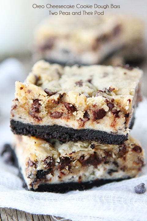 Oreo Cheesecake Cookie Dough Bars by Two Peas and their Pod