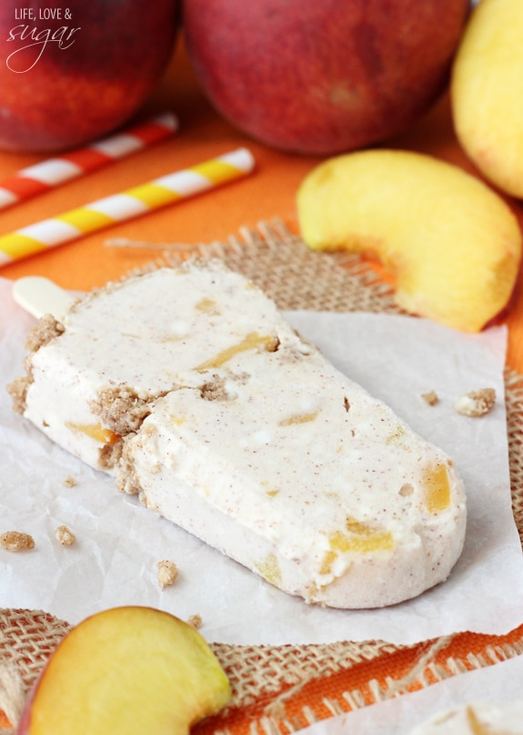 Peach Streusel Popsicles