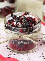 Red Velvet Oreo Trifle in a jar
