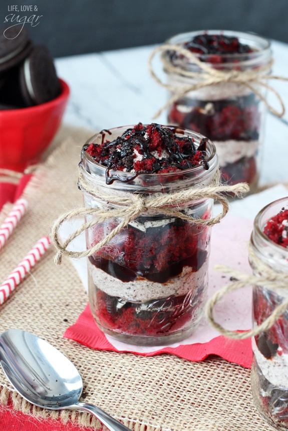 Red Velvet Oreo Trifle in a Jar