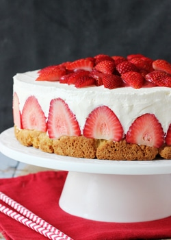 Strawberry Shortcake Cheesecake on white stand