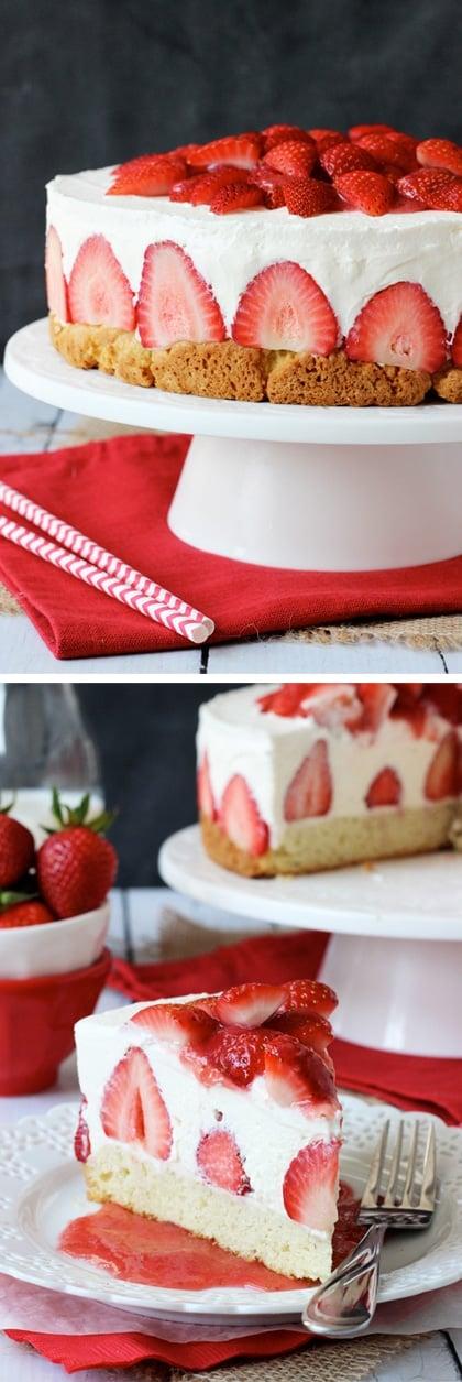 Strawberry Shortcake Cheesecake - shortcake topped with strawberries, no bake vanilla cheesecake and whipped cream! @driscollsberry #StrawShortcake