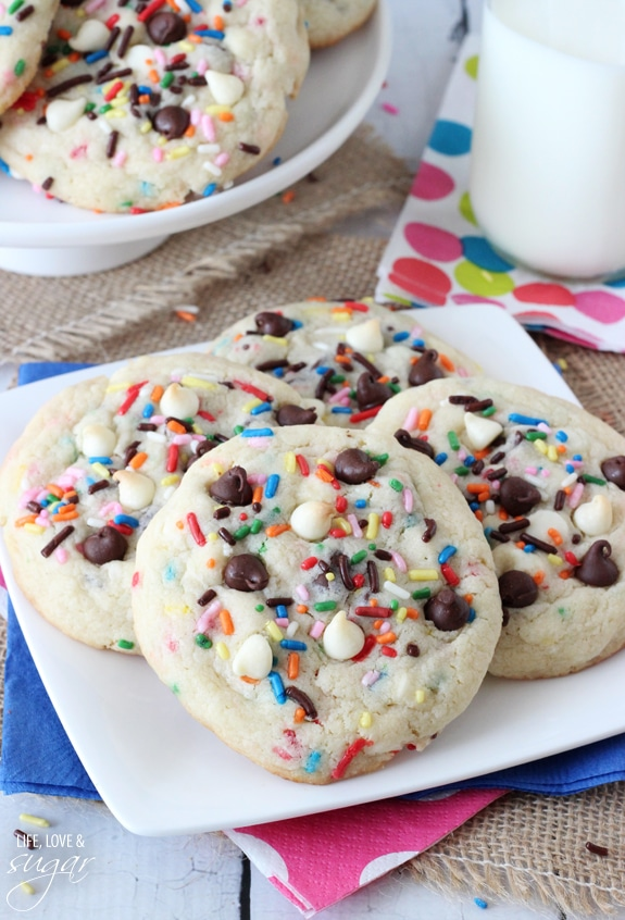 Funfetti Cake Batter Chocolate Chip Cookies arranged on a plate