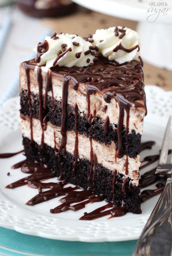 Hot Fudge Swirl Ice Cream Cake