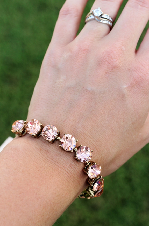 A Bracelet with Pink Jewels on Lindsay's Wrist