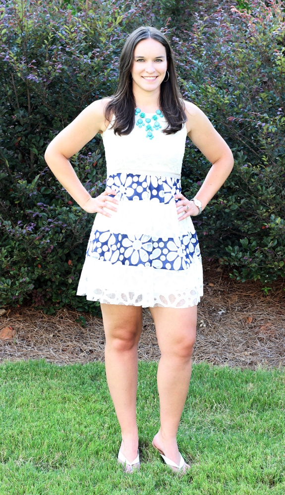 Lindsay Showing Off Her Blue & White Dress From Stitch Fix