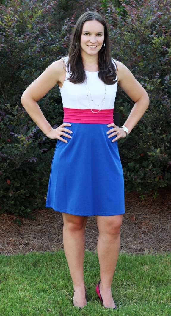 Lindsay Wearing a Blue, Pink and White Dress from Stitch Fix