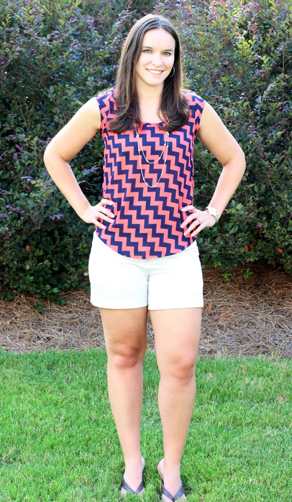Lindsay Modeling her Blue and Pink Zigzag Top from Stitch Fix