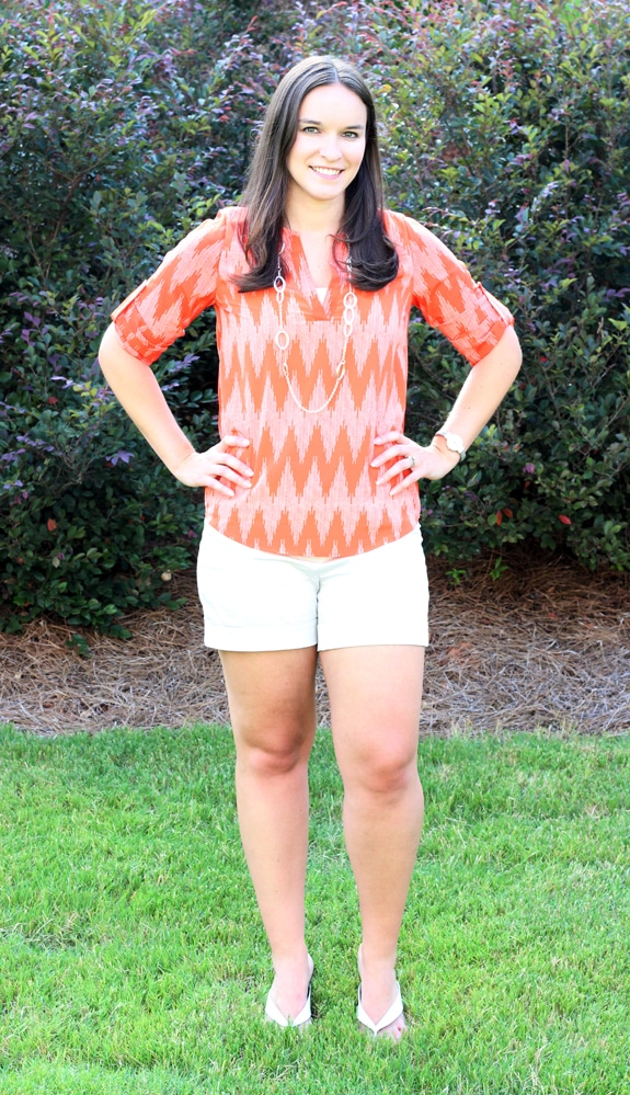 Lindsay Wearing Her New Pink & Orange Stitch Fix Blouse