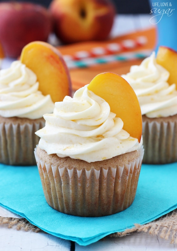Peach Pie Cupcakes on a blue napkin