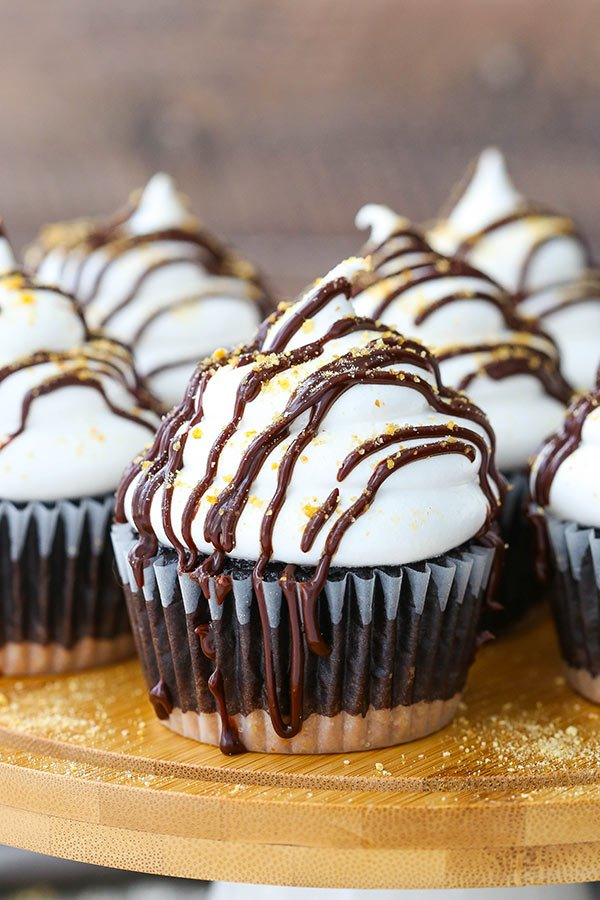 Close-up of Smores Cupcakes on a wooden board