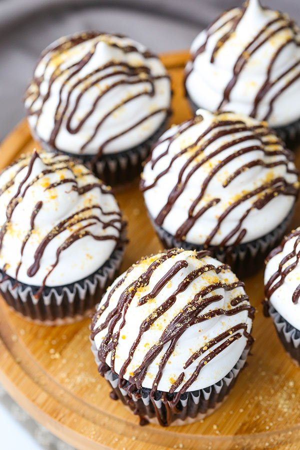 Overhead view of Smores Cupcakes on a wooden board
