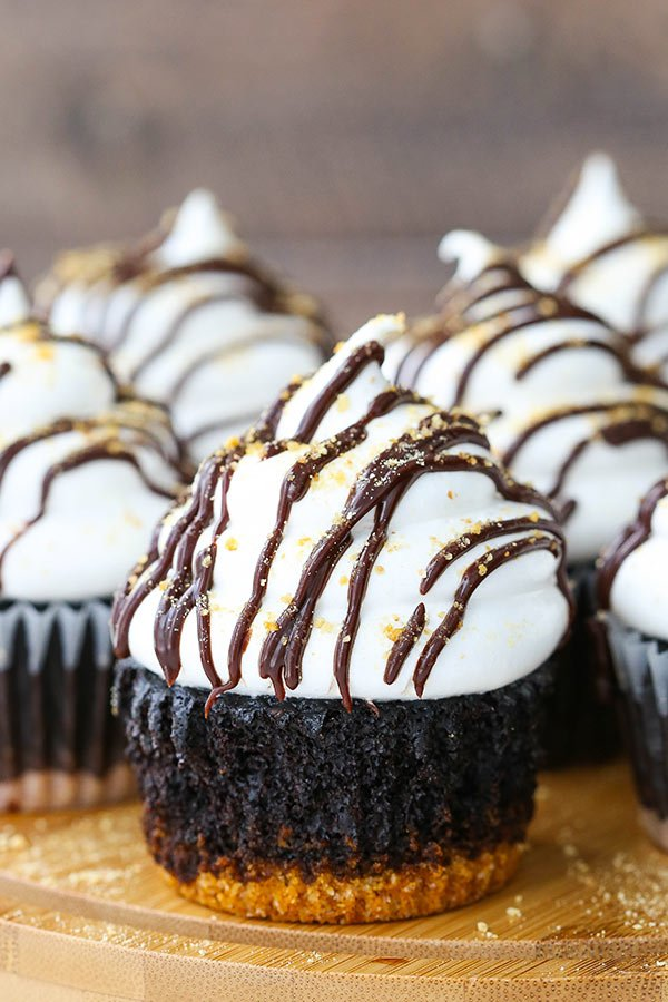 Close-up of Smores Cupcakes
