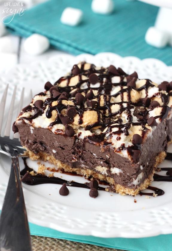 A Smores Ice Cream Bar on a white plate