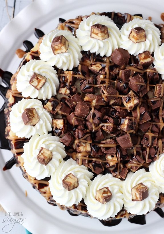 Overhead view of a Snickers Cheesecake