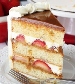 Strawberry Dulce de Leche Cake on white plate