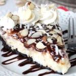 Almond Joy Pie slice on white plate