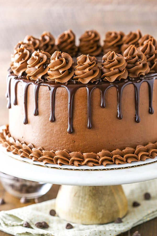 Decorated chocolate frosted cake on a cake stand