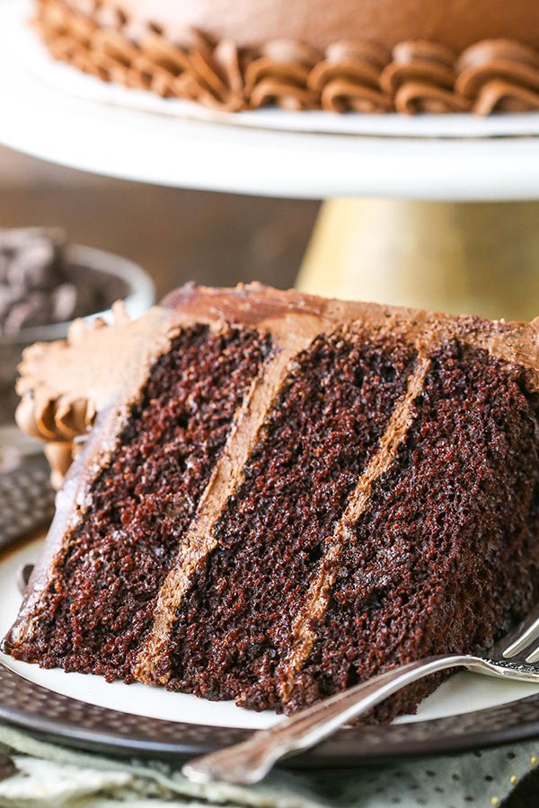 This simple Moist Chocolate Cake recipe is completely homemade and incredibly moist from using oil instead of butter! It's easy to make and the best moist chocolate cake you'll ever have!