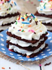 Birthday Cake Brownie Brittle Icebox Cupcakes