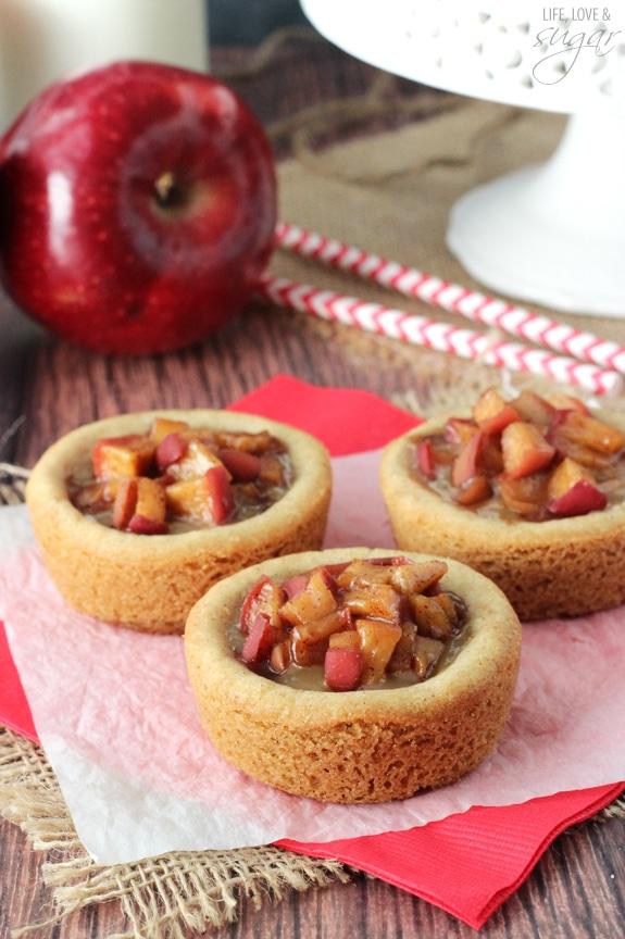 Caramel Apple Cookie Cups on a napkin