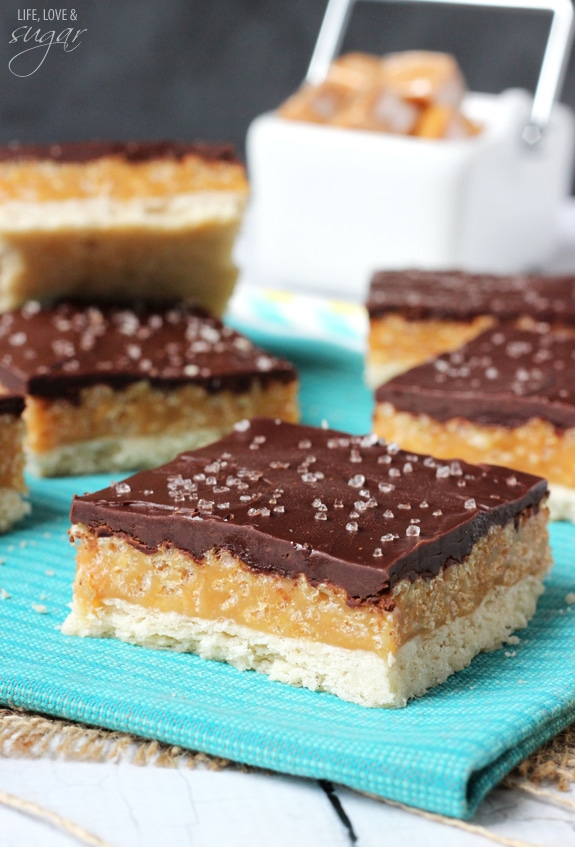 Caramel Krispie Shortbread Bars - layers of shortbread, caramel filled with rice krispies and chocolate