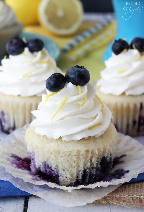 Lemon Blueberry Cupcakes with cupcake paper unwrapped