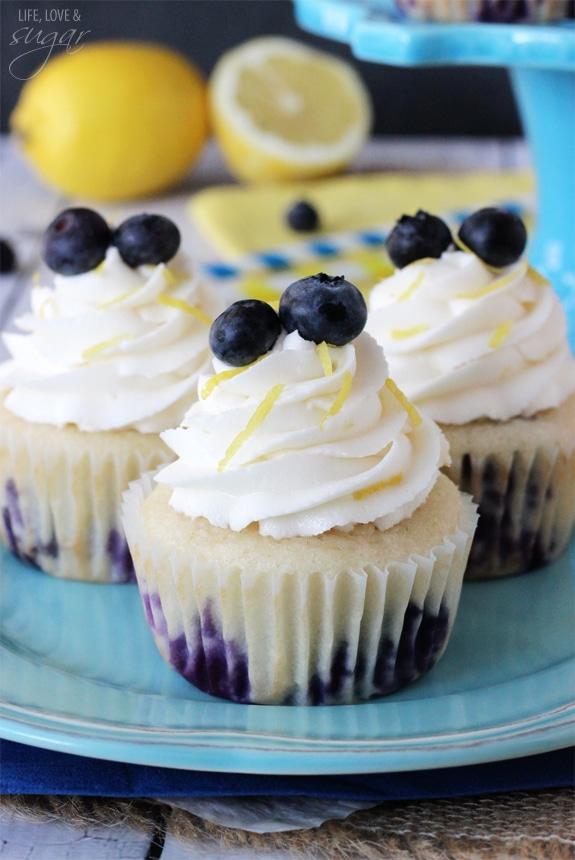 Lemon Blueberry Cupcakes on a blue plate