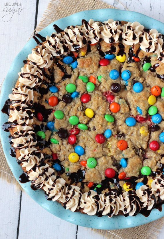 Overhead view of Monster Cookie Cheesecake Pie