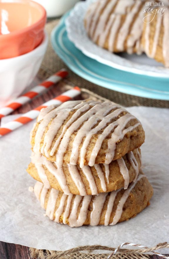 Pumpkin Cookies with Cinnamon Glaze