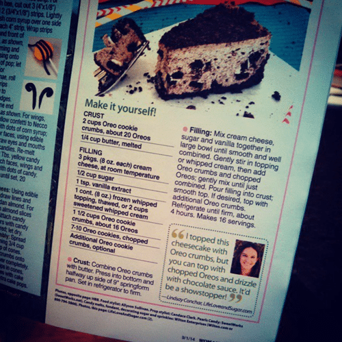 The Page of Women's Day Magazine With My No Bake Oreo Cheesecake Feature