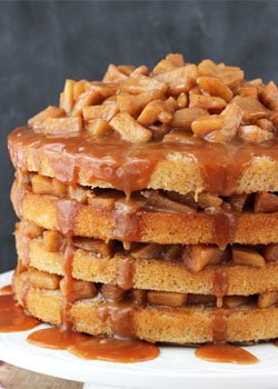 Side view of a Caramel Apple Layer Cake