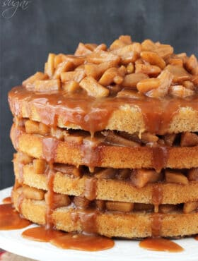 Caramel Apple Layer Cake on white stand
