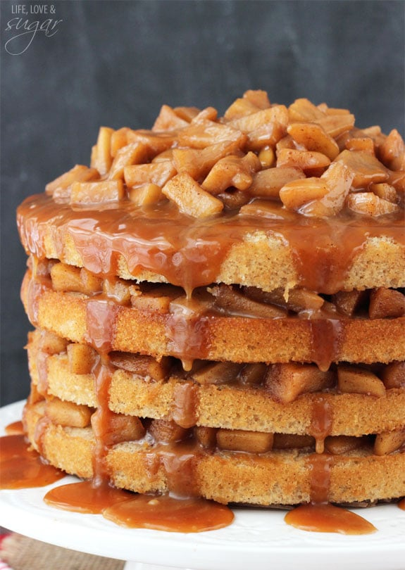 Apple Cinnamon Layer Cake With Salted Caramel Frosting