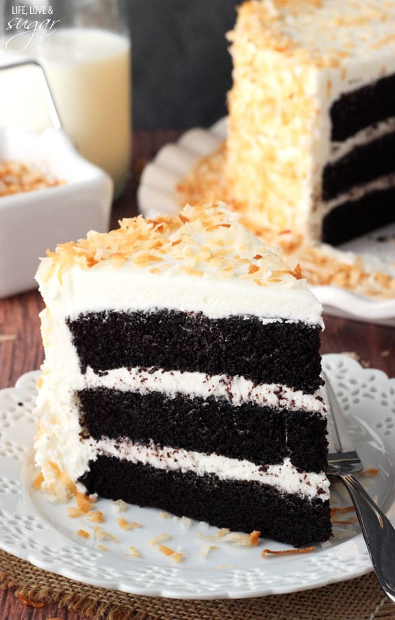 Chocolate Coconut Cake slice on a plate