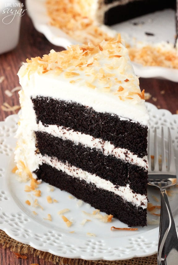 Chocolate Coconut Cake - super moist and chocolatey cake paired with coconut icing and toasted coconut! To die for!
