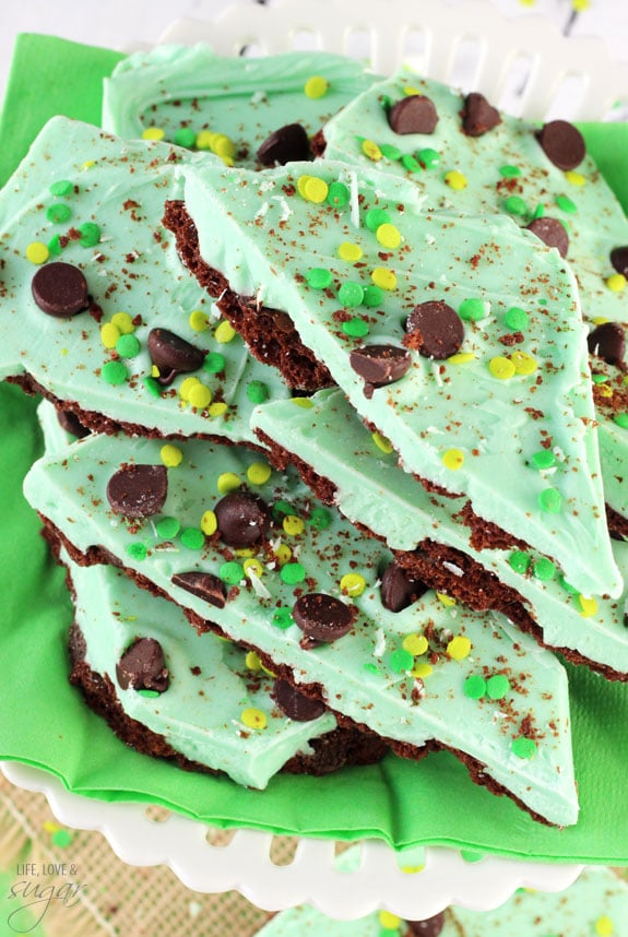 Mint Chocolate Brownie Brittle Bark pieces on a napkin