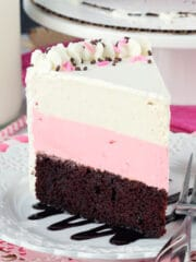 Neapolitan Ice Cream Cake slice on white plate
