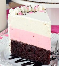 Neapolitan Ice Cream Cake slice on white plate