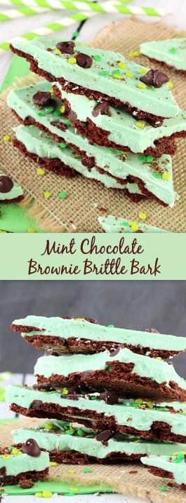 Mint Chocolate Brownie Brittle Bark collage