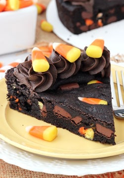 Candy Corn Chocolate Chip cookie Cake slice on yellow plate