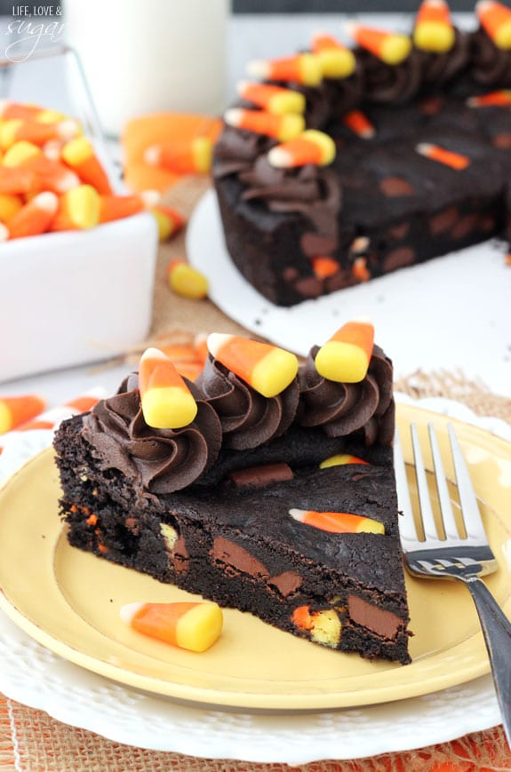 Candy Corn Chocolate Chip Cookie Cake slice on a plate