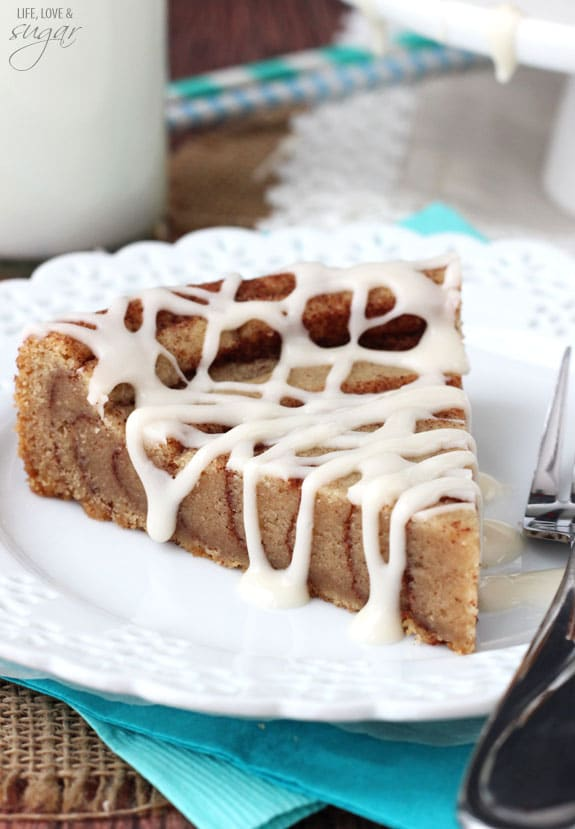 A Slice of Cinnamon Roll Cookie Cake on a plate